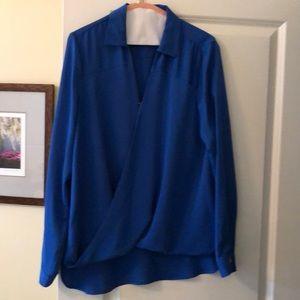 Michael Kora royal blue silk top